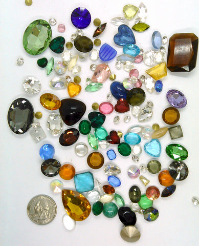 Vintage Glass Rhinestone Jewelry Repair Lot Loose foiled unfoiled mixed stones L117
