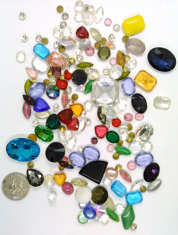 Vintage Glass Rhinestone Jewelry Repair Lot Loose foiled unfoiled mixed stones L118