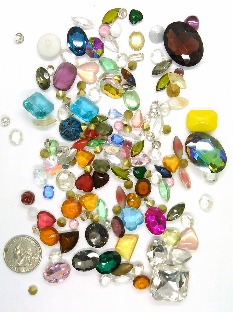 Vintage Glass Rhinestone Jewelry Repair Lot Loose foiled unfoiled mixed stones L121