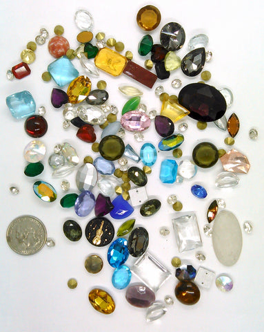 Vintage Glass Rhinestone Jewelry Repair Lot Loose foiled unfoiled mixed stones L122