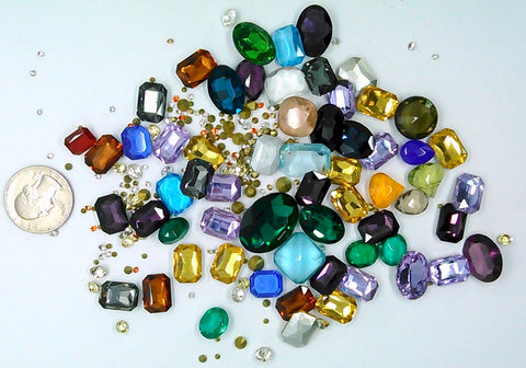 Vintage Glass Rhinestone Jewelry Repair Lot Loose foiled unfoiled mixed stones L123