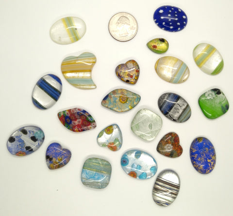 20pcs. Flat Backed Glass Cabochons 30x22mm foiled mosaic millefiori cabachons L125