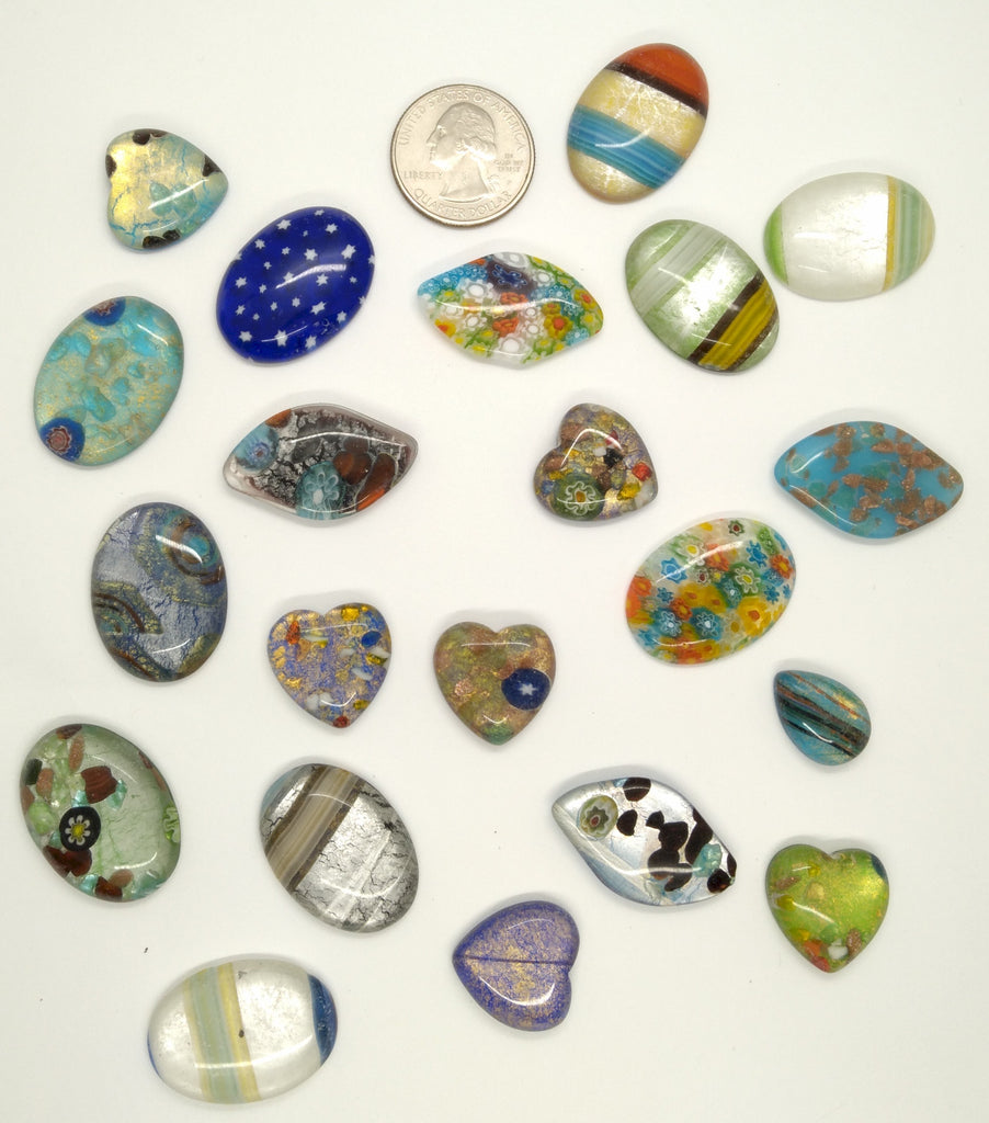 20pcs. Flat Backed Glass Cabochons 30x22mm foiled mosaic millefiori cabachons L126