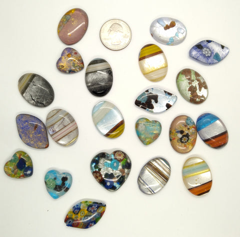 20pcs. Flat Backed Glass Cabochons 30x22mm foiled mosaic millefiori cabachons L127