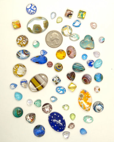 50pcs. Flat Backed Glass Cabochons foiled infused multi color swirl mixed size and shape L129