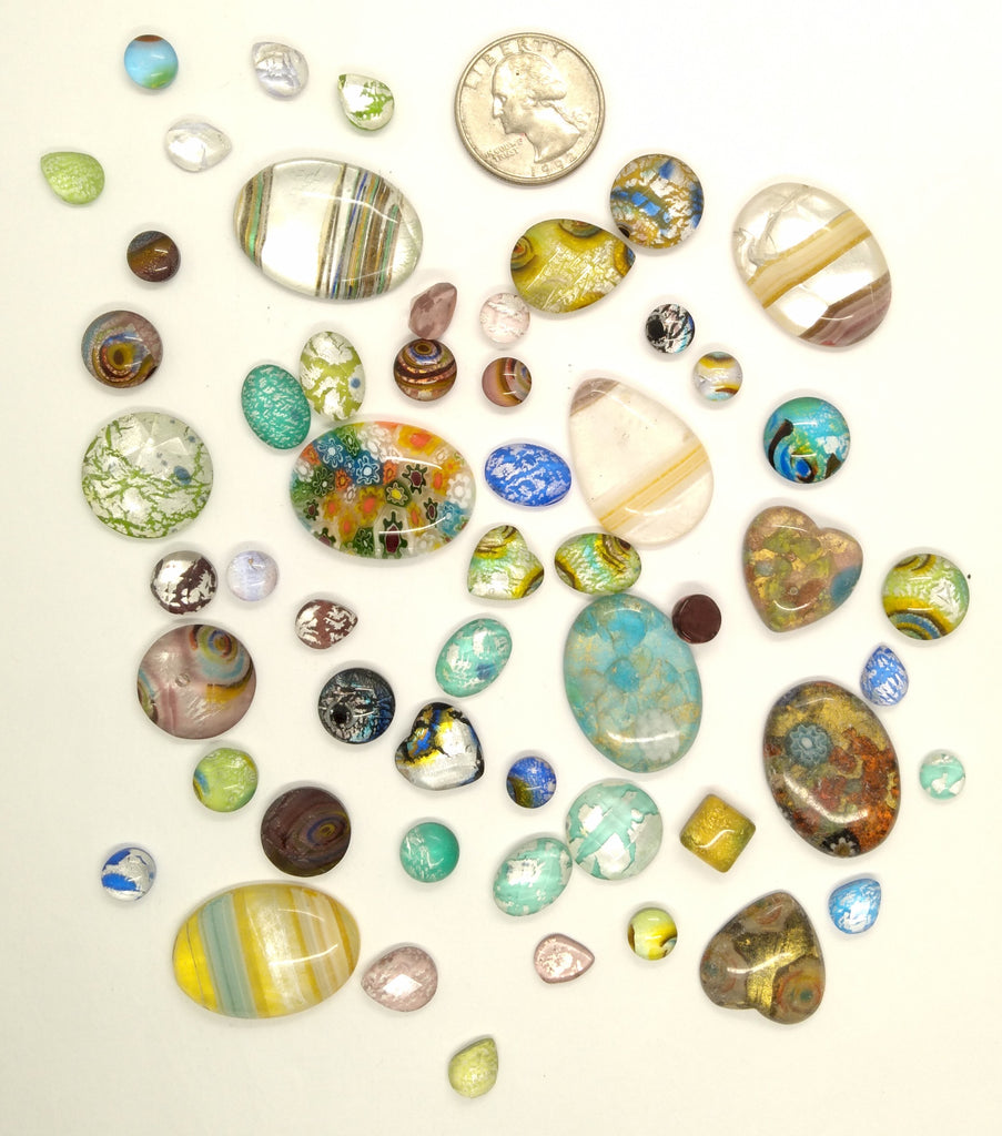 50pcs. Flat Backed Glass Cabochons foiled infused multi color swirl mixed size and shape L130