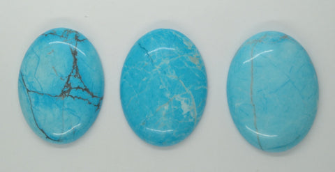 SECONDS LOT 3pcs. Dyed Howlite Chinese Turquoise 40x30mm gemstone Cabochon L135