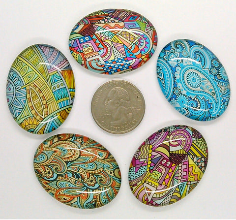 5pc. Mixed Lot 40x30mm Glass Designer Pattern Cabochons Low Dome Flat Back Cabs L153