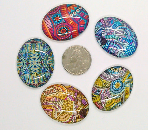5pc. Mixed Lot 40x30mm Glass Designer Pattern Cabochons Low Dome Flat Back Cabs L154