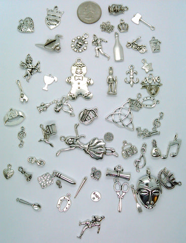 50pc. Bulk Lot of Antique Silver Charms mixed tibetan style shapes sizes and styles  L114
