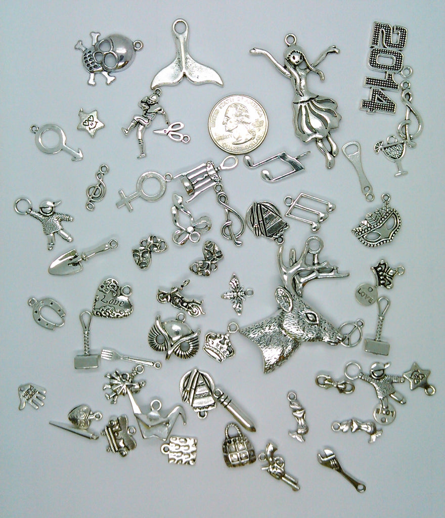 50pc. Bulk Lot of Antique Silver Charms mixed tibetan style shapes sizes and styles  L161