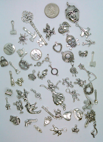 50pc. Bulk Lot of Antique Silver Charms mixed tibetan style shapes sizes and styles  L162
