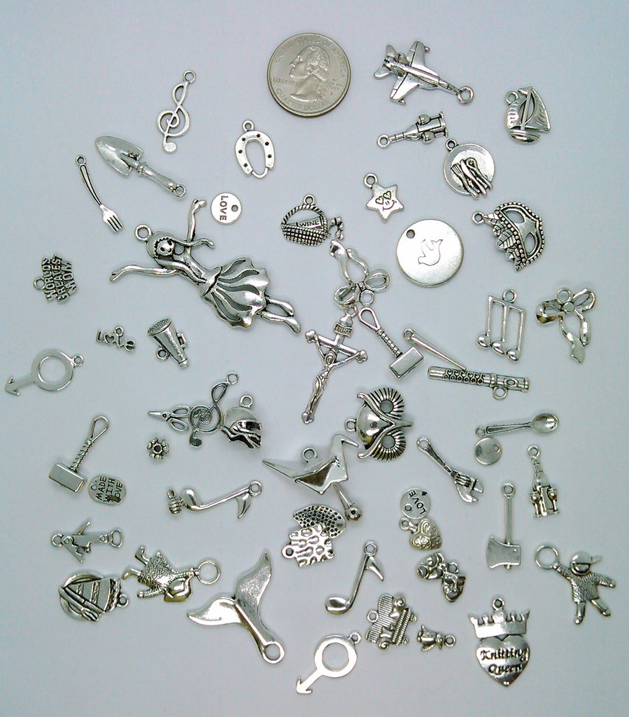 50pc. Bulk Lot of Antique Silver Charms mixed tibetan style shapes sizes and styles  L163