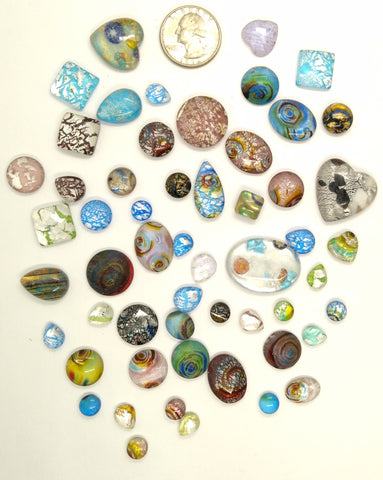 50pcs. Flat Backed Glass Cabochons foiled infused multi color swirl mixed size and shape L4