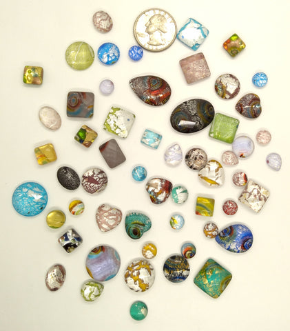 50pcs. Flat Backed Glass Cabochons foiled infused multi color swirl mixed size and shape L63