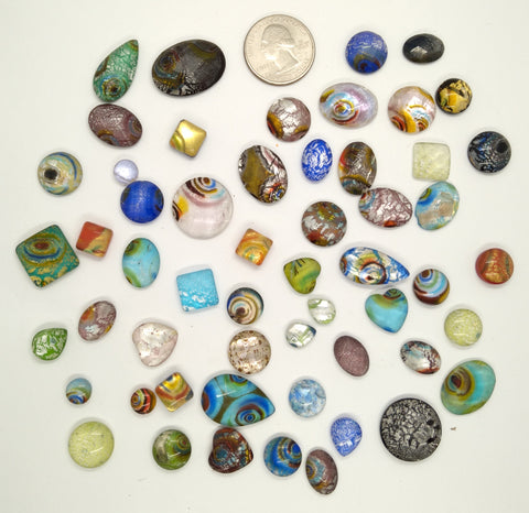 50pcs. Flat Backed Glass Cabochons foiled infused multi color swirl mixed size and shape L64