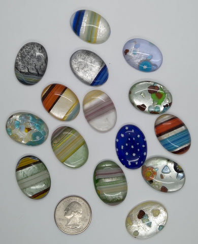 15pcs. Flat Backed Glass Cabochons 30x22mm foiled mosaic millefiori cabachons L67