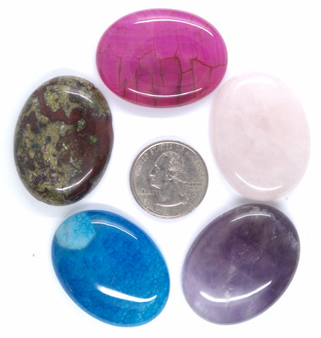5pc. Seconds Closeout Cabochon Lot Semi Precious 40x30mm Flat Back Cabachon Stones READ DESCRIPTION L71