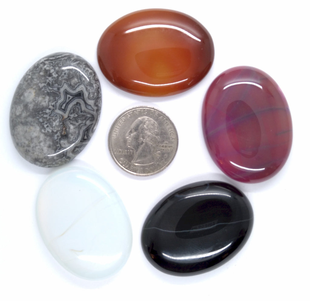 5pc. Seconds Closeout Cabochon Lot Semi Precious 40x30mm Flat Back Cabachon Stones READ DESCRIPTION L77