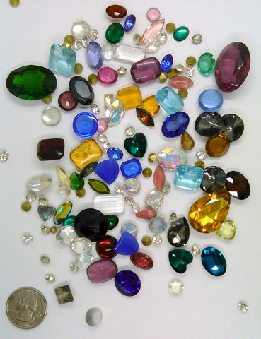 Vintage Glass Rhinestone Jewelry Repair Lot Loose foiled unfoiled mixed stones L80