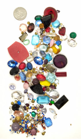 Vintage Glass Rhinestone Jewelry Repair Lot Loose foiled unfoiled mixed stones L82