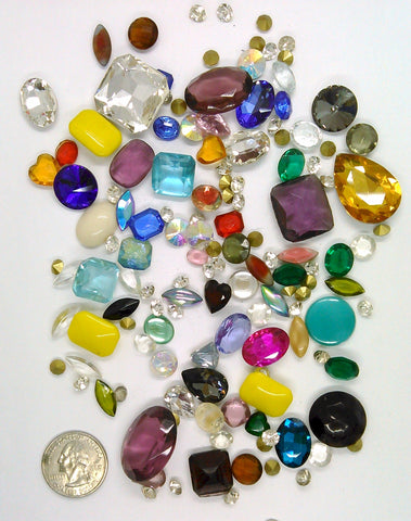 Vintage Glass Rhinestone Jewelry Repair Lot Loose foiled unfoiled mixed stones L83