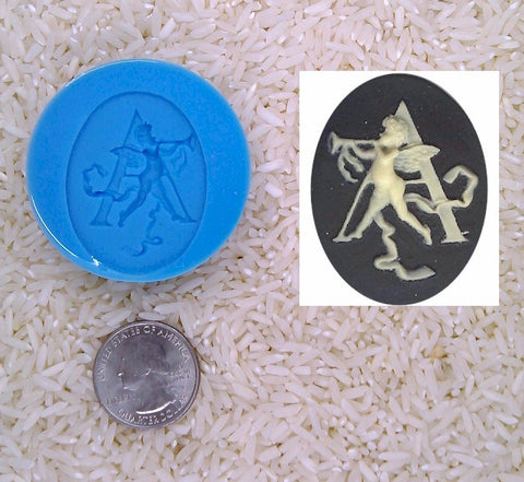 Food Safe Silicone Cameo Mold The LETTER A of the alphabet for candy soap clay resin wax etc.