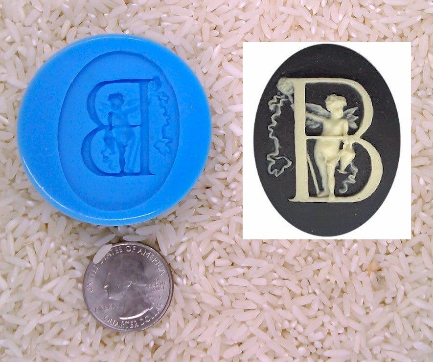 Food Safe Silicone Cameo Mold The LETTER B of the alphabet for candy soap clay resin wax etc.