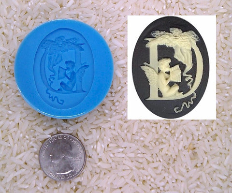 Food Safe Silicone Cameo Mold The LETTER D of the alphabet for candy soap clay resin wax etc.
