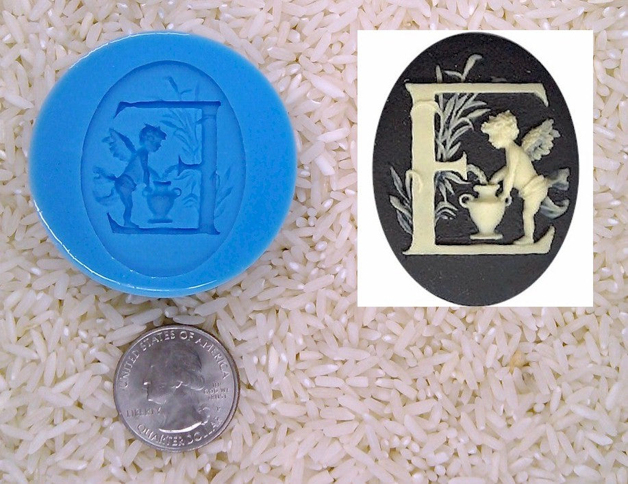 Food Safe Silicone Cameo Mold The LETTER E of the alphabet for candy soap clay resin wax etc.
