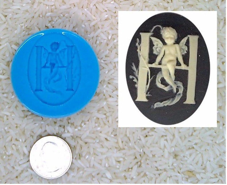Food Safe Silicone Cameo Mold The LETTER H of the alphabet for candy soap clay resin wax etc.