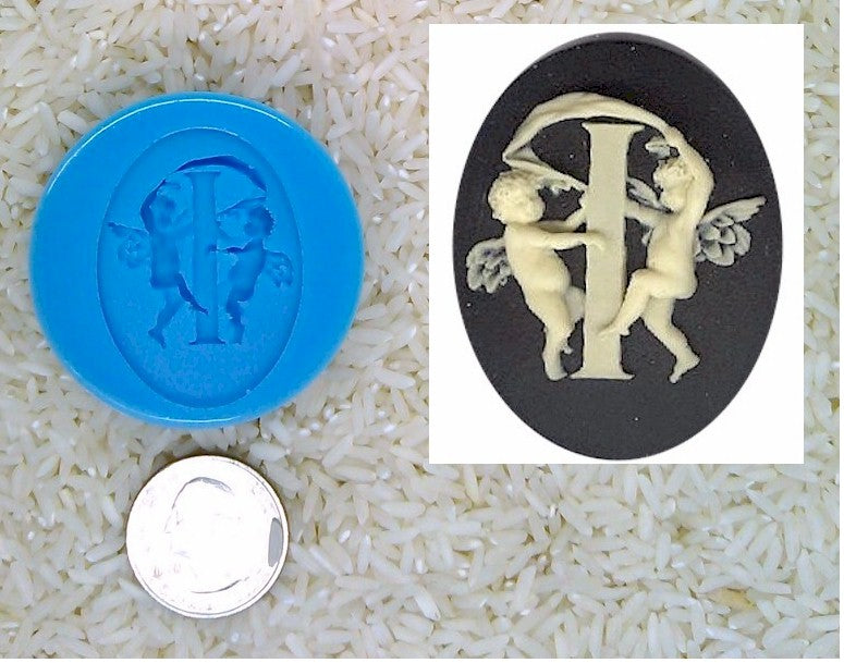 Food Safe Silicone Cameo Mold The LETTER I of the alphabet for candy soap clay resin wax etc.
