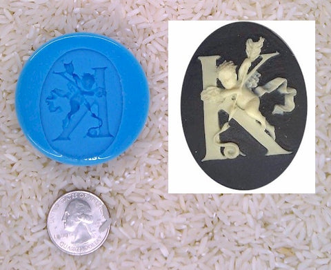 Food Safe Silicone Cameo Mold The LETTER K of the alphabet for candy soap clay resin wax etc.