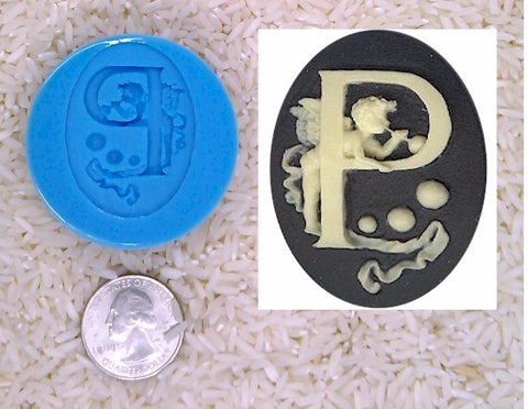 Food Safe Silicone Cameo Mold The LETTER P of the alphabet for candy soap clay resin wax etc.