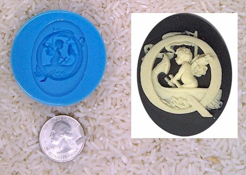 Food Safe Silicone Cameo Mold The LETTER Q of the alphabet for candy soap clay resin wax etc.