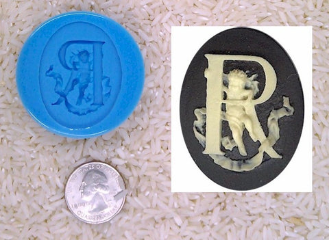 Food Safe Silicone Cameo Mold The LETTER R of the alphabet for candy soap clay resin wax etc.