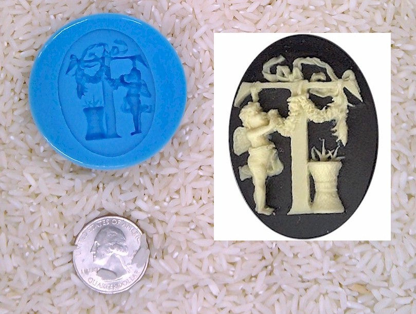 Food Safe Silicone Cameo Mold The LETTER T of the alphabet for candy soap clay resin wax etc.