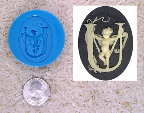 Food Safe Silicone Cameo Mold The LETTER U of the alphabet for candy soap clay resin wax etc.