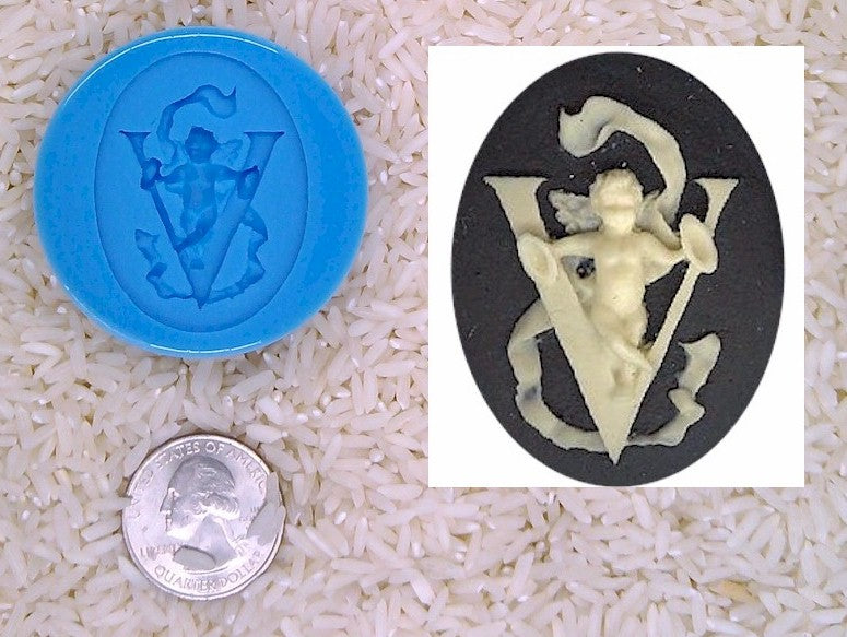 Food Safe Silicone Cameo Mold The LETTER V of the alphabet for candy soap clay resin wax etc.