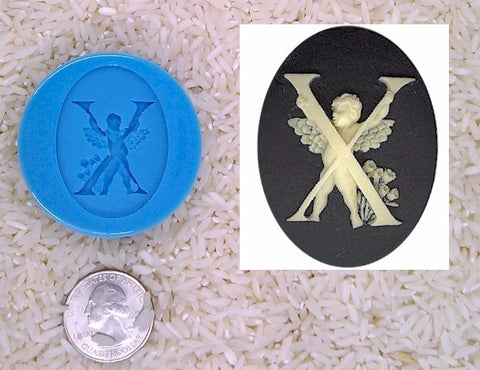 Food Safe Silicone Cameo Mold The LETTER X of the alphabet for candy soap clay resin wax etc.