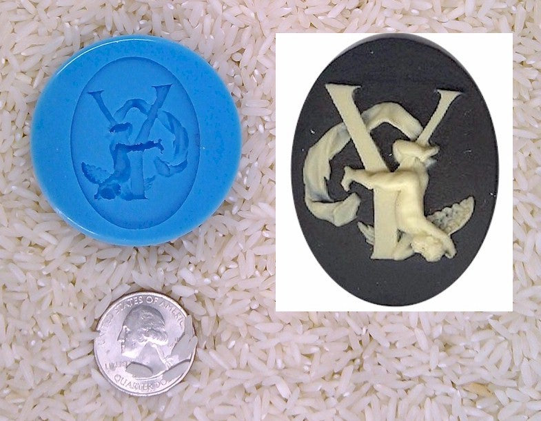 Food Safe Silicone Cameo Mold The LETTER Y of the alphabet for candy soap clay resin wax etc.
