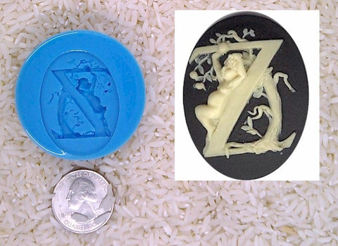 Food Safe Silicone Cameo Mold The LETTER Z of the alphabet for candy soap clay resin wax etc.