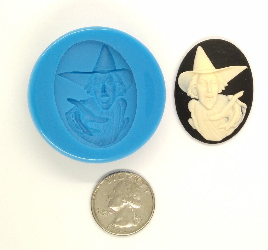 Wicked Witch Halloween Supply Food Safe Silicone Cameo Mold for candy soap clay resin wax etc.