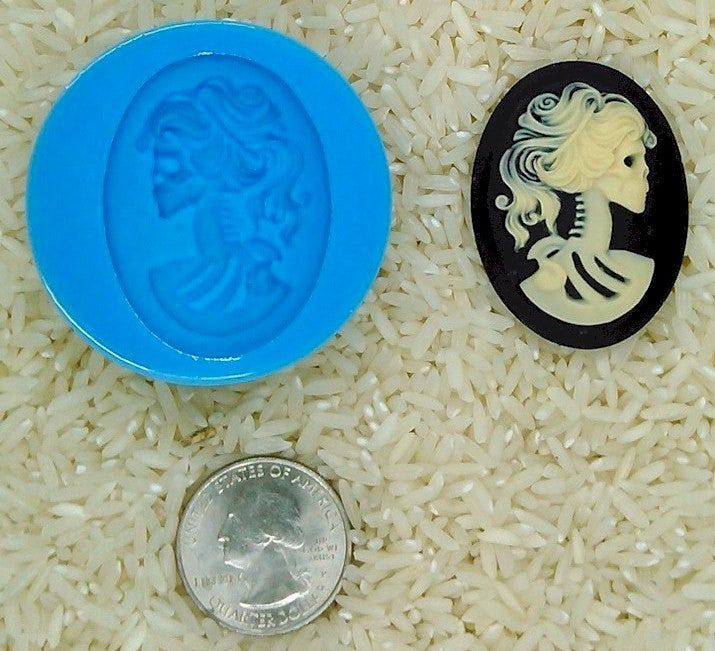 Gothic Zombie Skull Food Safe Silicone Cameo Mold for candy soap clay resin wax etc.