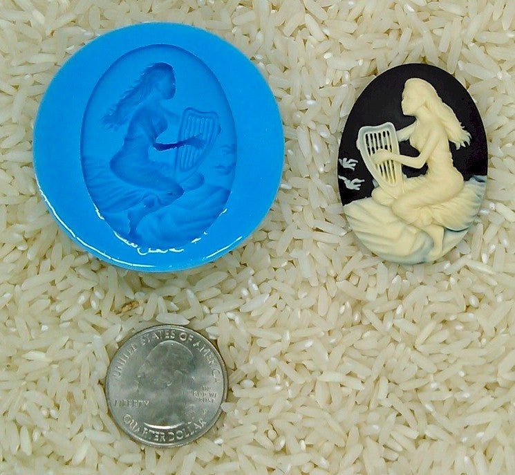Harpist Harp Instrument Food Safe Silicone Cameo Mold for candy soap clay resin wax etc.