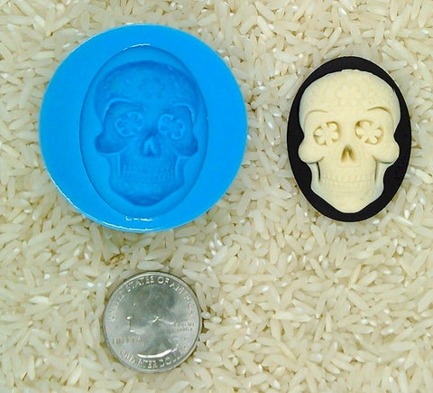 Sugar Skull Calavera Food Safe Silicone Cameo Mold for candy soap clay resin wax etc.