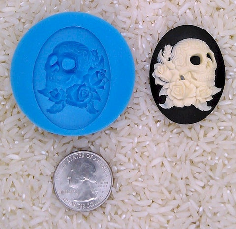 Skull Zombie Rose Food Safe Silicone Cameo Mold for candy soap clay resin wax etc.