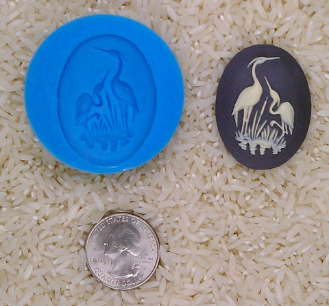 Crane Stork Heron Bird Food Safe Silicone Cameo Mold for candy soap clay resin wax etc.