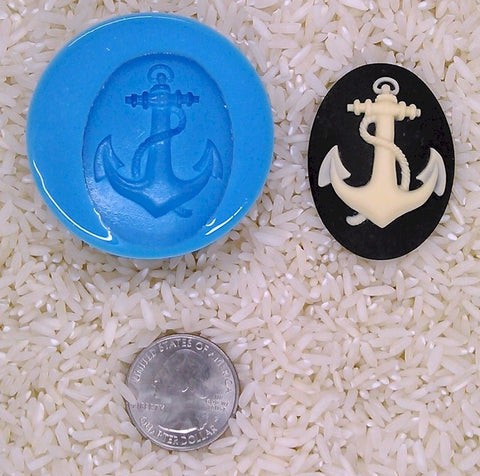 Anchor Sailor nautical Navy Marine Food Safe Silicone Cameo Mold for candy soap clay resin wax etc.