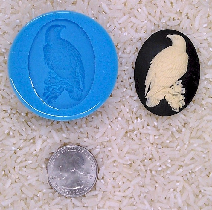Bald Eagle Bird Patriotic Food Safe Silicone Cameo Mold for candy soap clay resin wax etc.